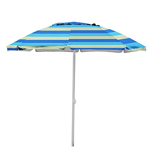 Stripe Beach Umbrella (Caribbean Joe beach umbrella double canopy windproof design with UV protection, Stripe, 7')
