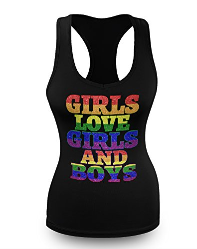 Girls Love Girls and Boys Panic Disco LGBT Gay Pride Juniors Tank Top S (Disco Themed Clothes)