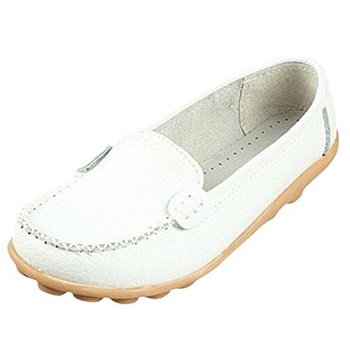 Minetom 2016 Damen Maedchen Flach Freizeit Business Schuhe Mokassins Sommer Flach Schuhe Bootsschuhe Weiß