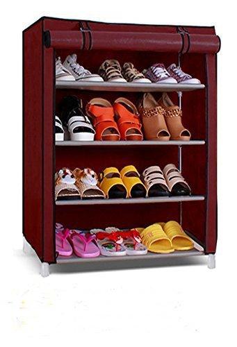 Shoe Rack 4 Layer Maroon Collapsible Shoe Racks