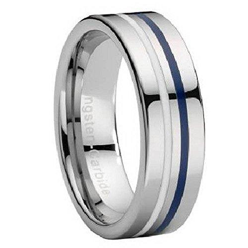 - Tungsten Ring with White & Navy Blue Enamel Stripe 8mm Size 16
