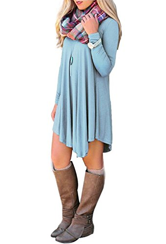 ReachMe Womens Long Sleeve Casual Loose T-Shirt Dress Midi Tunics For Leggings