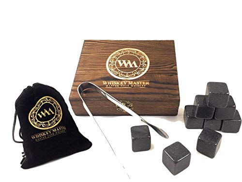 WHISKEY STONES- PREMIUM WOODEN BOX SET- includes 9 BLACK WHISKEY STONES, VELVET BAG, and STAINLESS STEEL TONGS- by WHISKEY MASTER