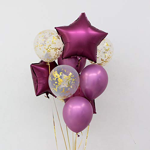 35PCS 12 Inch Pearl Latex Balloons Gold Confetti and Rose Wine Red Party Decoration Baby Shower Supplies Wedding Ceremony Balloon -