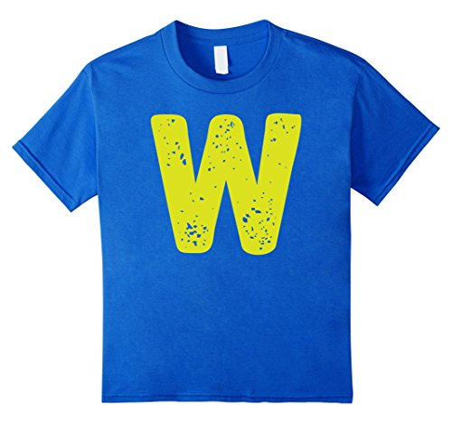 Kids Distorted Letter W First Name Easy Halloween Costume Shirt 4 Royal Blue - Letter W Halloween Costumes