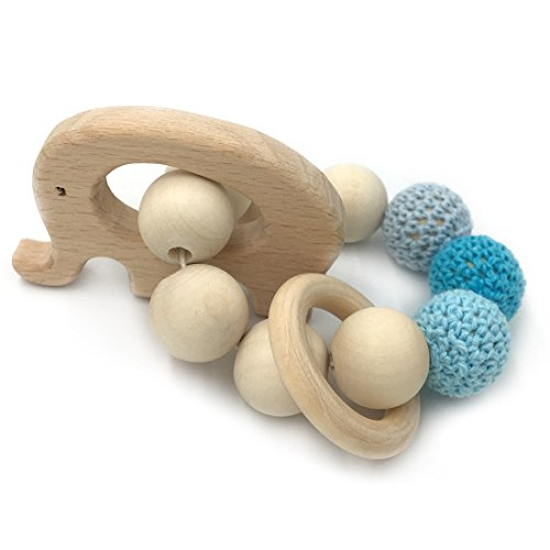 Amyster Crochet Bead Teething Ring Set Untreated Beech Teether with Organic Wood Elephant Toy Wood Bracelet Baby Mom Kids Wooden Teether (Organic Wood Toy)
