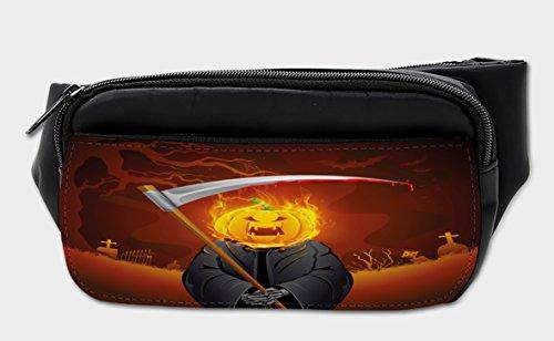 Lunarable Halloween Bumbag, Grim Reaper Head Spooky, Fanny Pack Hip Waist Bag
