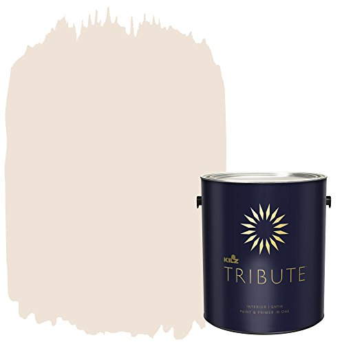 KILZ TRIBUTE Interior Satin Paint and Primer in One, 1 Gallon, Champagne White (TB-06)