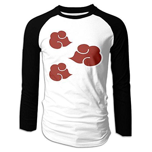 RODNEY Men's Long Sleeve Shippuden Akatsuki Cloud Anti Leaf Symbols Baseball Jersey Raglan T-shirt Tee XL Black