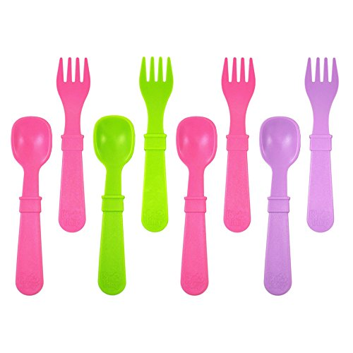 Re-Play 8pk Spoon and Fork Utensils - Purple, Green, Bright Pink (Butterfly)