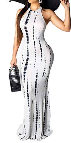 Women's Tie Dye Ombre Dress Racerback Casual Bodycon Evening Gown Mermaid Maxi Long Dress White