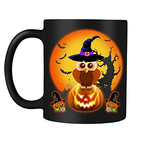 Owl Halloween Spooky Night Kids Daughter Son Gift Black Ceramic 11oz Novelty Coffee Tea Milk Hot Chocolate Mug -