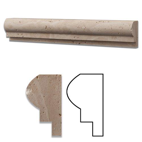 Ivory Travertine Honed 2 X 12 Cornice Molding - Standard Quality - BOX of 10 PCS