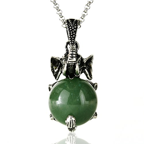 JewelrieShop Gemstone Elephant Necklace Stainless