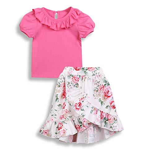 Toddler Girl Clothes Sets Pink Flounce T-Shirt +Floral Irregular Casual Dress Summer Suit 2PCS 1-5T (Pink, 3-4T)