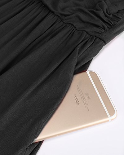 Long Black Wrap Dress Sleeve V OUGES Maxi Neck Womens Waist CxOwcFUHq