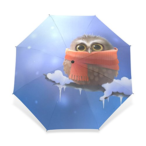 (BAIHUISHOP Windproof Golf Umbrella, Compact for Travel By Easy Carrying Sports Rain Umbrella - Strong Frame Unbreakable Owl Scarf Art Pattern)