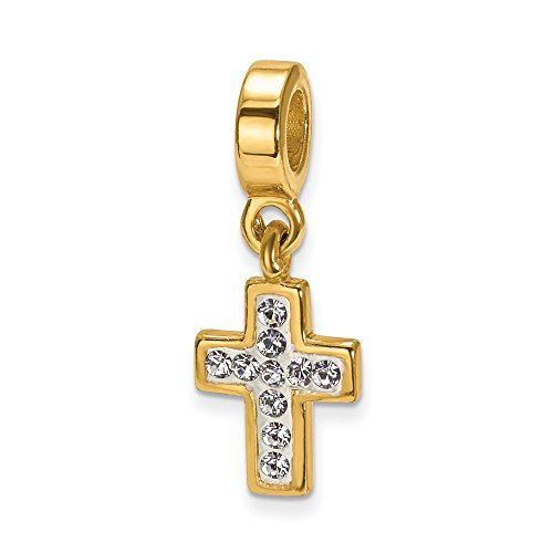 ICE CARATS 925 Sterling Silver Gold Plated Charm for Bracelet Swarovski Cross Religious Dangle Bead Stone Crystal Fine Jewelry Gifts for Women for Her