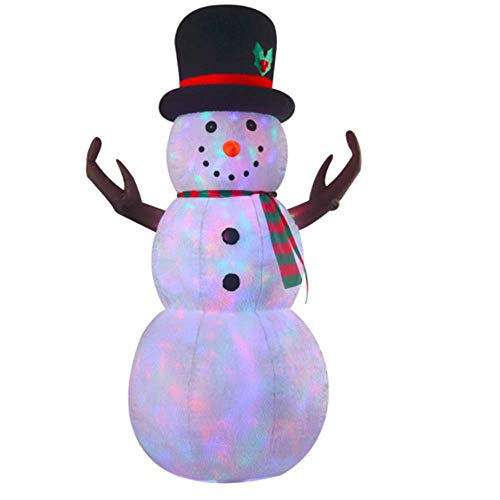 VIDAMORE 8 Foot Large Inflatable X-Mas Plush Snowman LED Lighted Inflatables Outdoor Holiday