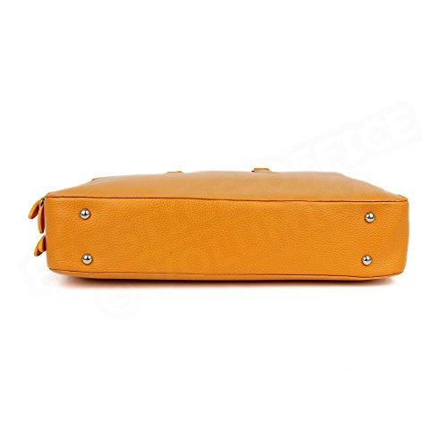 Serviette 2 Compartiments cuir Orange Beaubourg