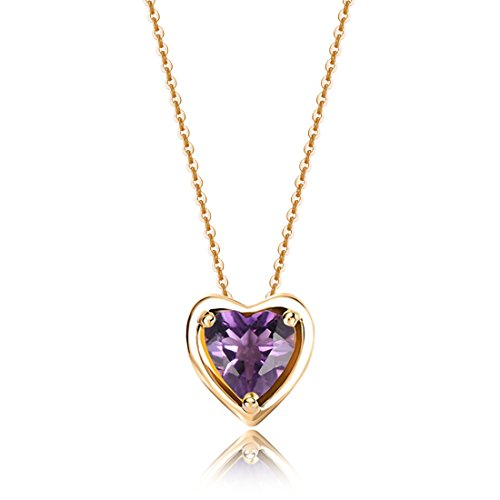 Carleen Solid 14K Yellow Gold Birthday Heart Shape Gemstone February Solitaire Amethyst Birthstone Necklace Pendant Delicate Dainty Fine Jewelry Women Girl, 18 inch