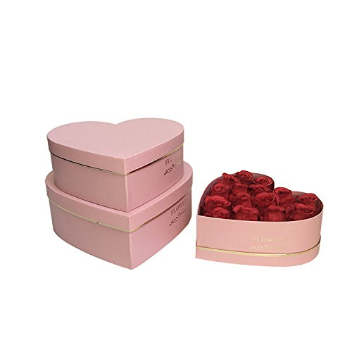 JDCMYK 3pcs/set ,Hot stamping heart-shaped florist packing gift flower paper box ,foil gold color wedding party gifts for - Heart Shaped Flowers Pink