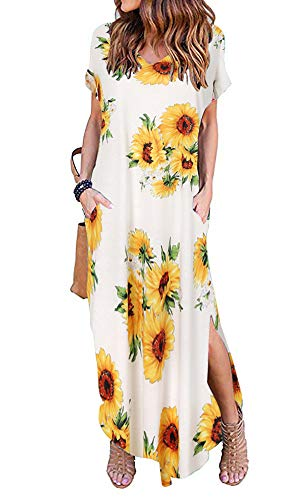 - Silvous Women Short Sleeve Loose Maxi Dresses Casual Long Dresses with Pockets (Sunflower White M)