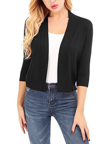 Uniboutique V Neck Thin Cardigans for Women Black Elegant Crop Knit Jacket (Cardigan Sleeve 3/4 V-neck)