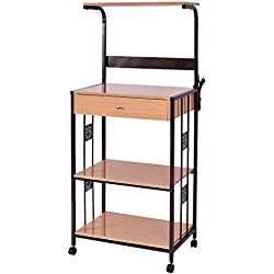 "Giantex 59"" Bakers Rack Microwave Stand Rolling Kitchen Storage Cart w/Electric Outlet (25.2"" x15.7 x 59.1)"