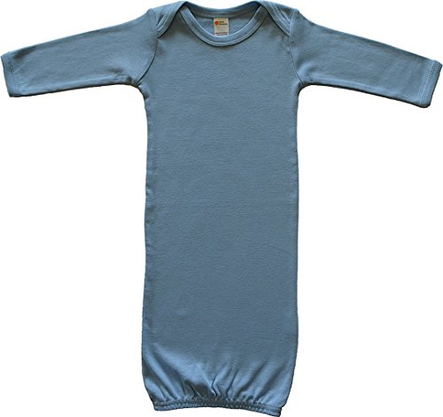 Earth Elements Baby Long Sleeve Gown 0-3 Months Sky (Boys Blue Sleeper)