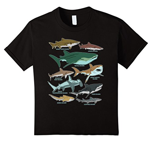 Kids Types of Shark Species Marine Biology Ocean Sea T-shirt 6 (Silvertip Reef Shark)