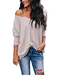 osazic Women's Casual Off Shoulder Tops V Neck Waffle Knit Blouse Batwing Sleeve Loose Pullover Sweater
