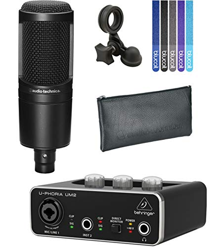 Audio-Technica AT2020 Cardioid Condenser Microphone with Pivot Stand Bundle with Behringer U-PHORIA UM2 2x2 USB Audio Interface and 5-Pack of Blucoil Cable Ties (At 2020 Microphone)