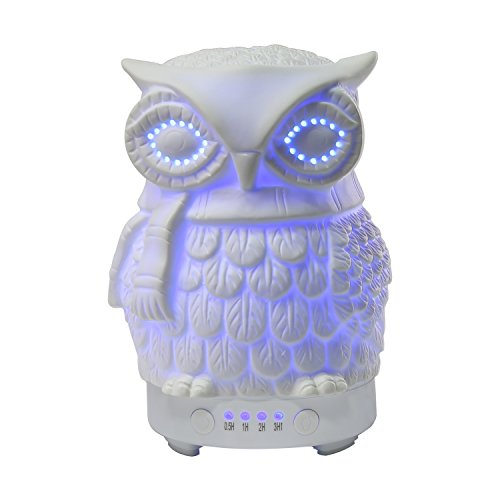 Price comparison product image COOSA Ceramic Owl Essential Oil Diffuser Cool Mist Humidifier for Home (White)