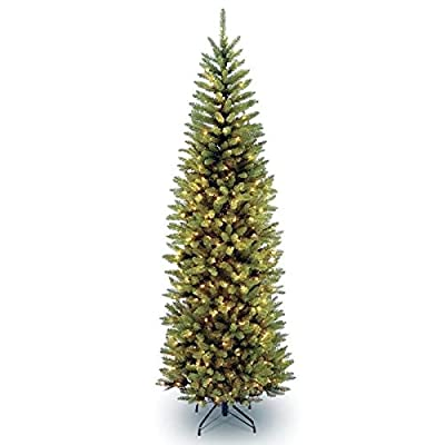 National Tree Company 4 1/2' Kingswood Fir Hinged Pencil Tree with 150 Clear Lights