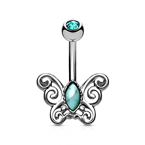 Pierced Owl Turquoise Filigree Butterfly Belly Button Ring (Silver Tone)