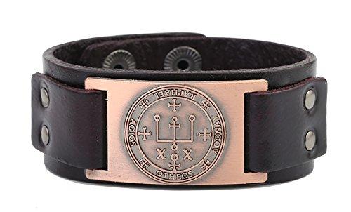 Skyrim-Sigil-del-arcangel-Raphael-Talisman-para-curar-la-mente-pulsera-de-cuero
