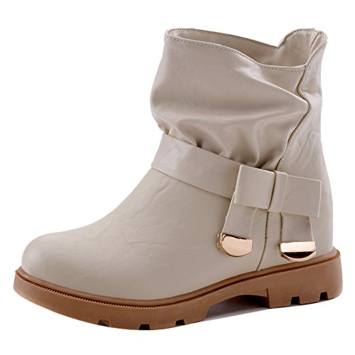 COOLCEPT Women Casual Pull On Bootie apricot