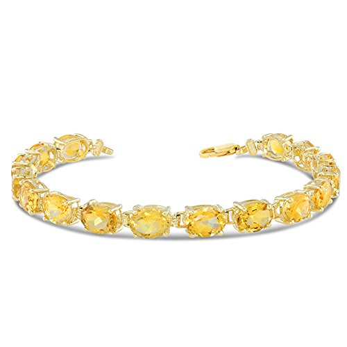 Gold Yellow Citrine Bracelets Tennis - Fine 10k Yellow Gold Genuine Oval Citrine (8x6) Tennis Bracelet (Size 8)
