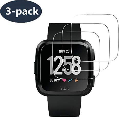 [ 3-Pack ] Fitbit Versa Screen Protector, Runzen Waterproof 9H Tempered Glass Screen Protector for Fitbit Versa Smart Watch [2.5D Round Edge] [9H Hardness] [Crystal Clear] [Anti-Scratch] [No-Bubble] from LuettBiden