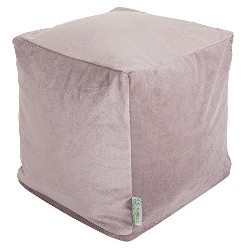 Majestic Home Goods Steel Velvet Indoor Outdoor Bean Bag Ottoman Pouf Cube 17 L x 17 W x 17 H