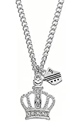 Juicy Couture Crown & Shield Charm Necklace- Silver Tone