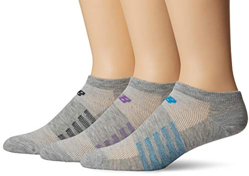New Balance No Show Socks (6 Pack), Grey/Green/Orange/Yellow/Blue/Purple, Shoe Size: Men's 9-12.5/Women's 10-12 (Large) -