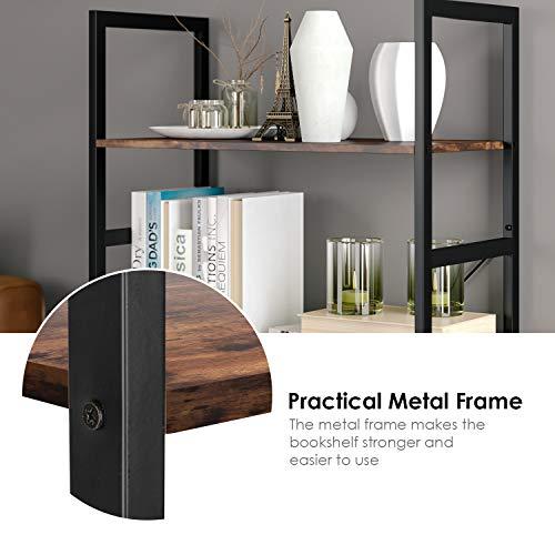 Homfa Bookshelf Rack 5 Tier Vintage Bookcase Shelf Storage Organizer Modern Wood Look Accent Metal Frame Furniture Home Office by Homfa (Image #4)