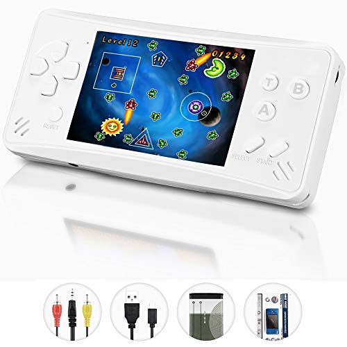 X-JJFUN Handheld Game Player for Kids Adults, Portable Classic Game Controller Built in 218 Games 3.5 Inch LCD 1 USB Charge Retro Arcade Video Gaming System,Birthday Presents for Children-Pearl White
