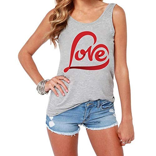HIRIRI Fashion Women Letter Print Vest Series Love Tank Tops O-Neck Sleeveless Sexy Summer Outdoor Sports T-Shirt Vest Gray