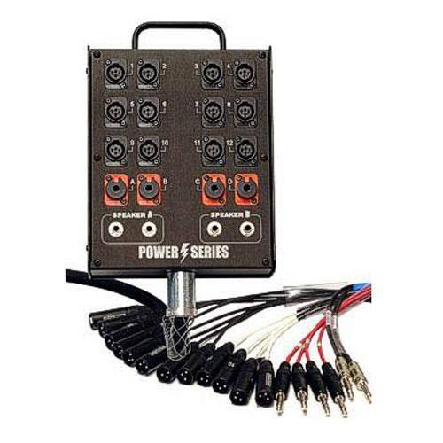 Whirlwind 50' Box to Fan Medusa Power 2 Speaker Line Snake Cable, 12 XLR Inputs, 4 1/4