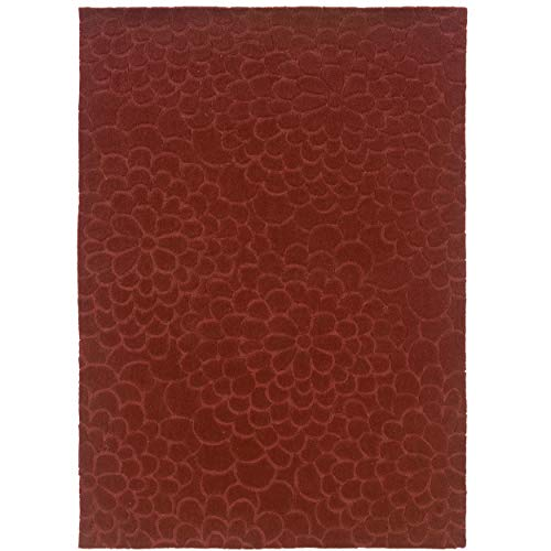 - Linon Hand Tufted Trio Collection Floral Trace Rust Polyester Rug (5' X 7')