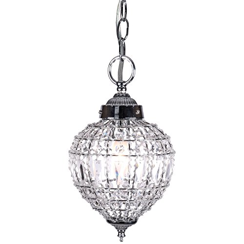 Joshua Marshal 7023-001 1 Light Beaded Crystal Mini Pendant Light Fixture In Chrome Finish with Clear European Crystal