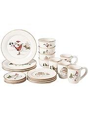 American Atelier Christmas Twig 20 Piece Dinnerware Set, Cream - V215-20-SET